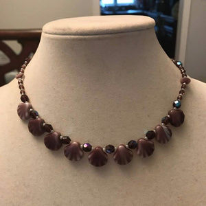 Semi-Precious Amethyst Shell& Crystal Necklace-New